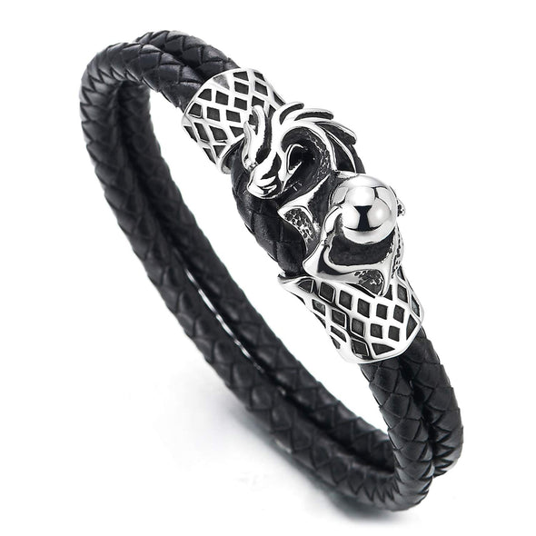 COOLSTEELANDBEYOND Punk Biker Man Stainless Steel Dragon Ball and Two-Row Black Braided Leather Wrap Wristband Bracelet - coolsteelandbeyond