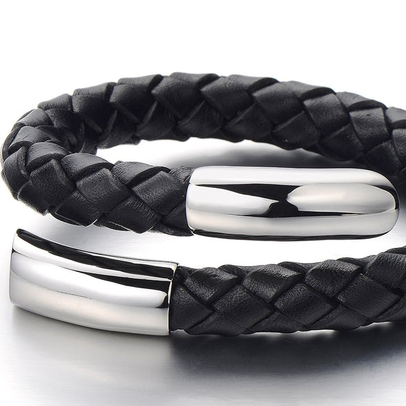 COOLSTEELANDBEYOND Elastic Adjustable Men's Black Braided Leather Wrap Bracelet Wristband with Steel Ornaments - coolsteelandbeyond