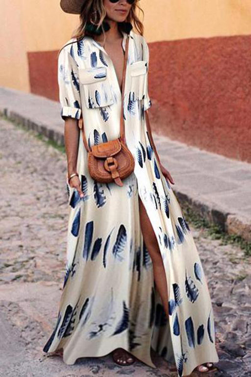 Sexy Button Down Collar Stripes Split Half Sleeve Maxi Dresses