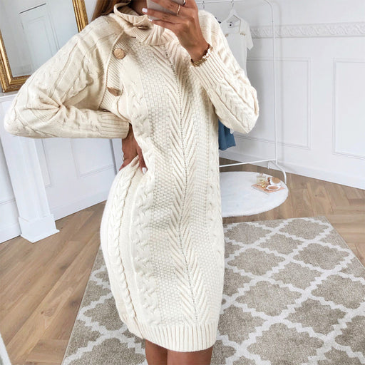 Fashion High Collar Solid Colour Knit Dress