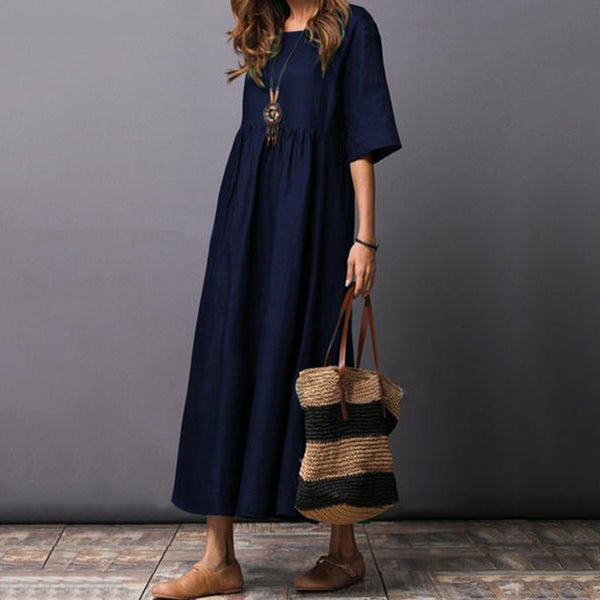 Round Neck Plain Cotton/Linen Half Sleeve Loose Casual Maxi Dress
