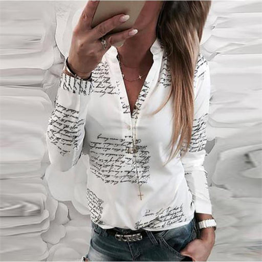 Gracybee V Neck Letters Print Long Sleeve Blouses