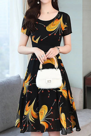 Commuting Round Neck Printed Colour Dress