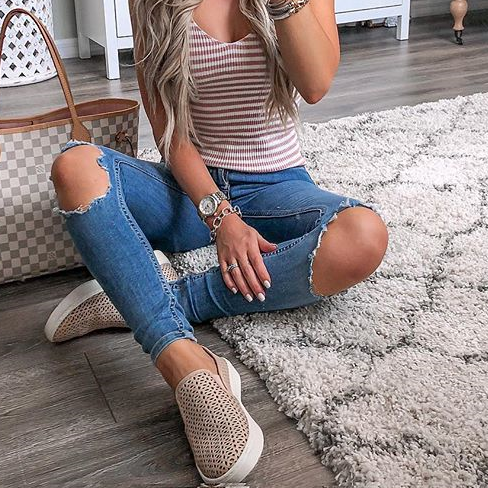 Fashion Plain Ripped Shift Denim Pants Jeans