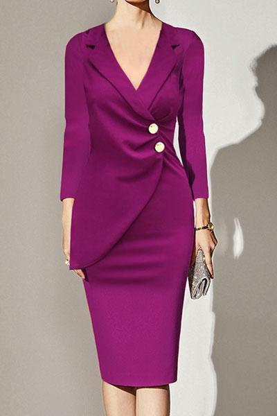 Notch Lapel Ruched Decorative Button Plain Bodycon Dress