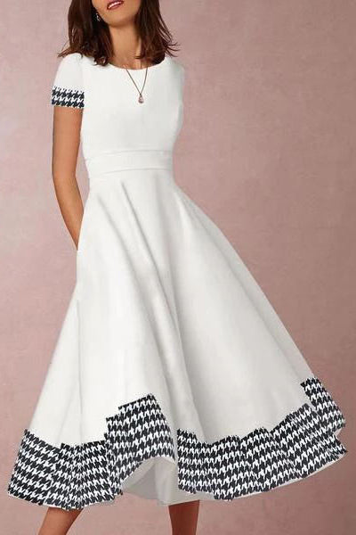 Round Neck  Houndstooth Skater Dress