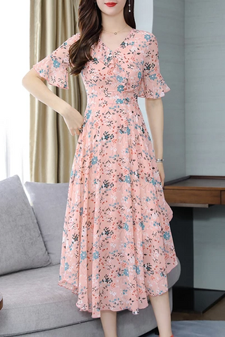 V Neck  Asymmetric Hem  Floral Printed  Bell Sleeve Maxi Dress