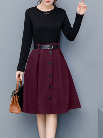 Round Neck Decorative Buttons Color Block Skater Dress