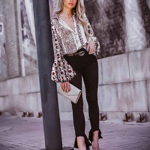 Elegant And Stylish Sexy Slim Long-Sleeved Puff Sleeve Leopard Blouse