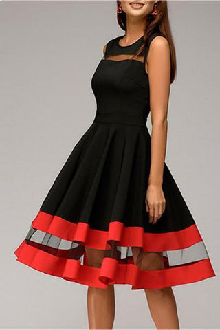 Round Neck Patchwork Color Block Sleeveless Skater Dress