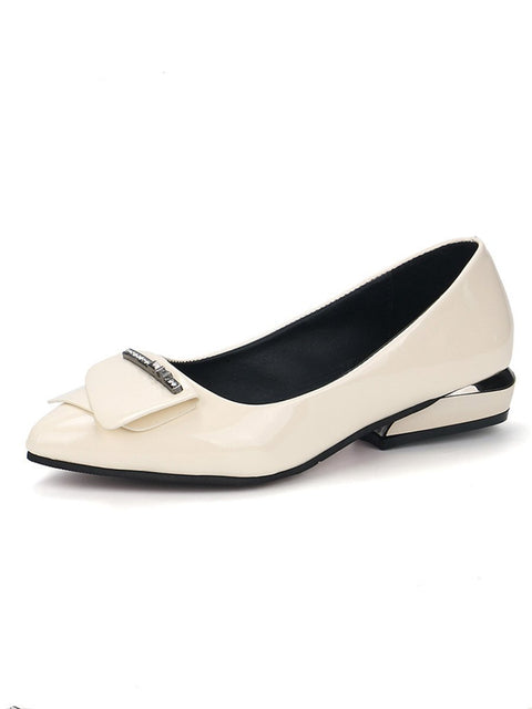 Plain  Low Heeled  Faux Leather  Casual Pumps