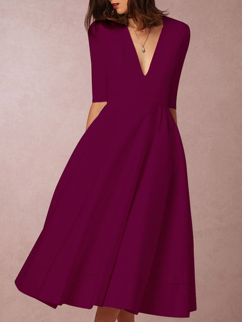 Deep V-Neck Solid Skater Dress 10 Colors Available