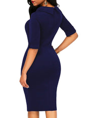 Doll Collar  Plain Bodycon Dress