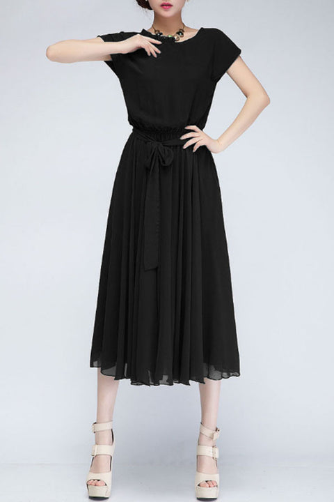 Ruched Neck  Hem  Belt  Plain  Batwing Sleeve Maxi Dresses
