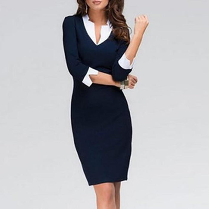 Fold-Over Collar Plain Blend Bodycon Work Dress