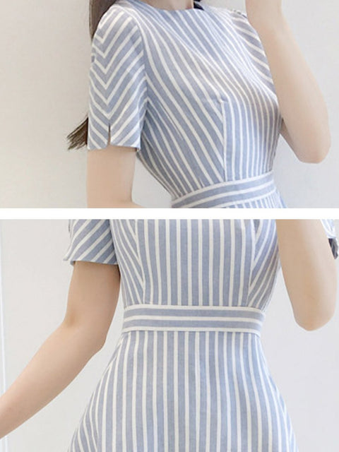 Round Neck  Striped Skater Dress