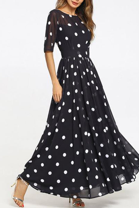 Round Neck Ruffled Hem Printed Maxi Dress