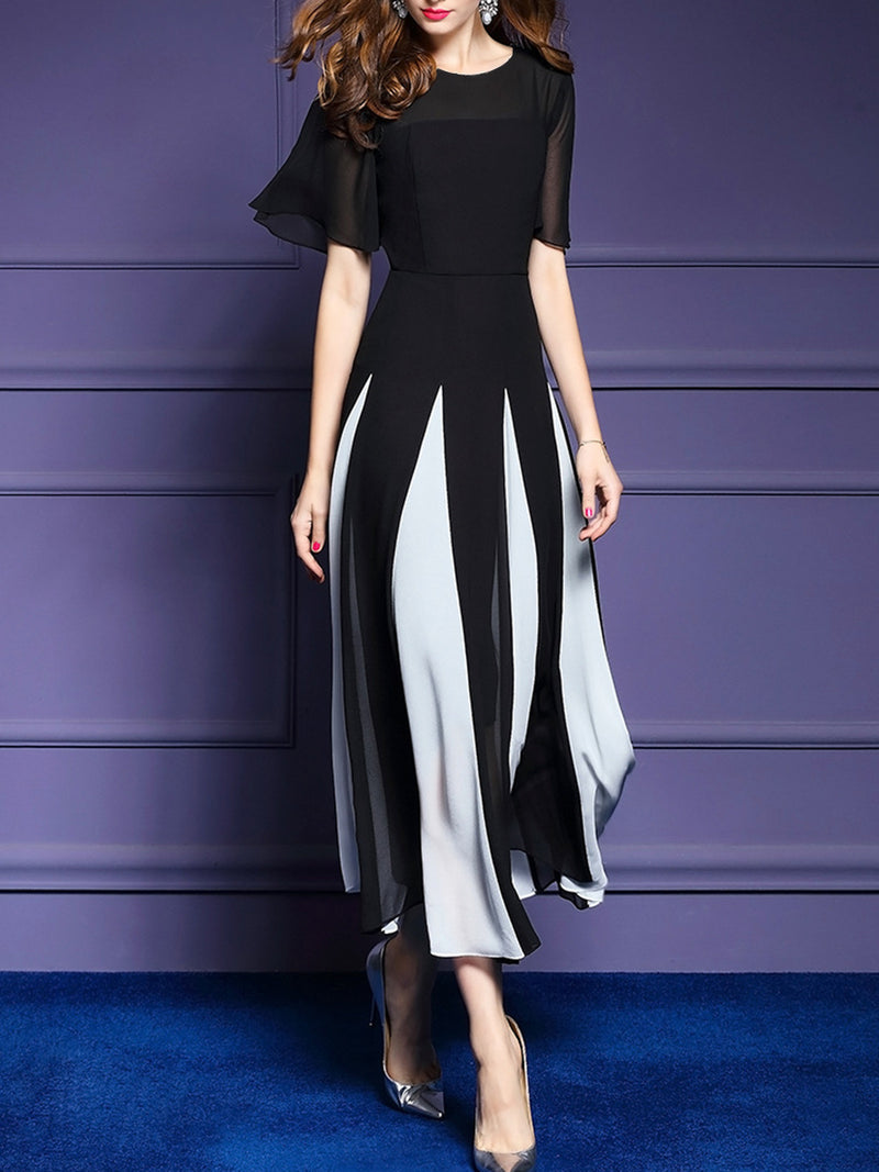 Round Neck Patchwork Color Block Maxi Dress