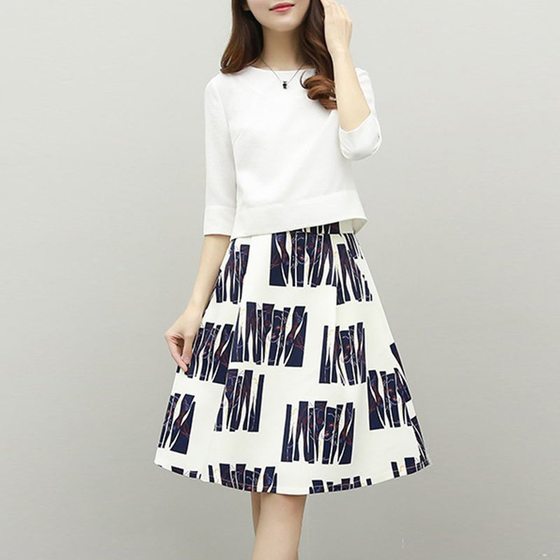 Round Neck Printed Two-Piece 3/4 Sleeve Skater Dress