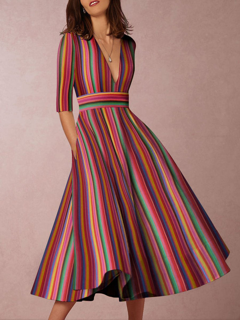 Deep V-Neck Multicolor Striped Skater Dress