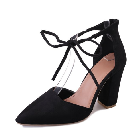 Women's Closed Pointed Toe Ankle Tie Chunky Block Heel Pump