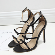 Elegant Bow Tie Ankle Strap Stiletto Sandals Pumps