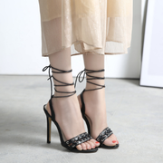 Lace Up PU Casual High Heel Pumps