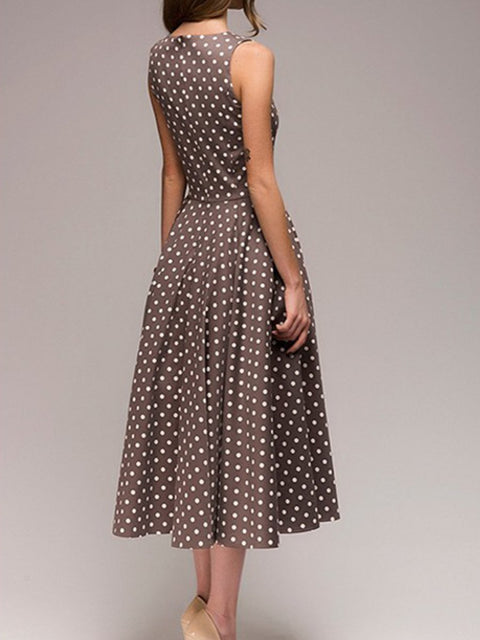 Round Neck Polka Dot Sleeveless Skater Dress