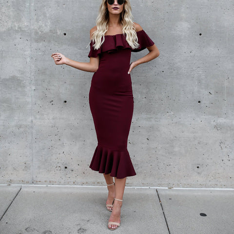 Sexy Off Shoulder Fishtail Bodycon Dress