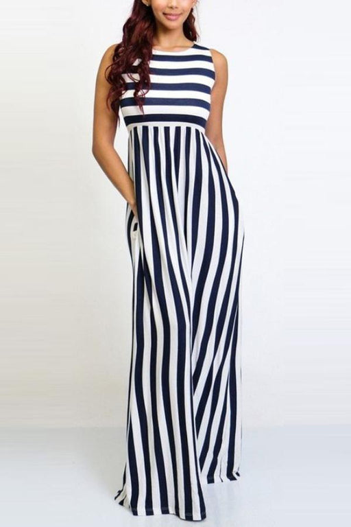 Gracybee Round Neck Stripe Sleeveless Wide Leg Jumpsuit