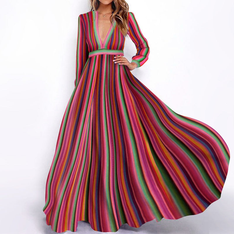 Deep V-Neck Multicolor Striped Long Sleeve Maxi Dress