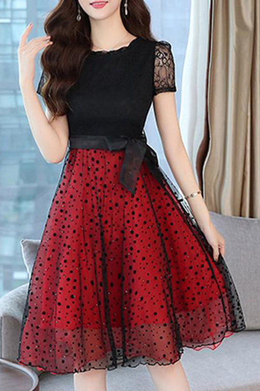 Round Neck  Bow Patchwork Polka Dot Skater Dress