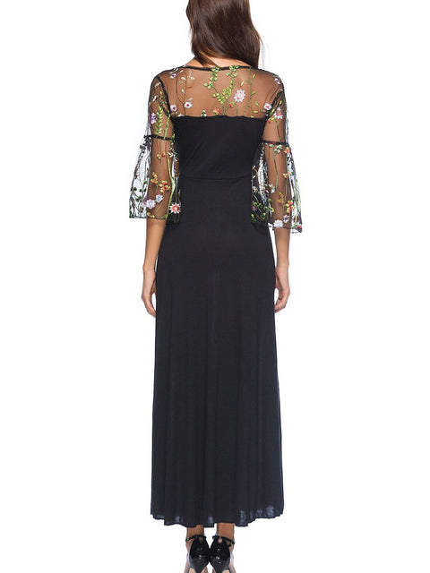 Round Neck Patchwork Embroidery Maxi Dress