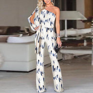 Gracybee Fashion One Shoulder Slit Sleeve Print Jumpsuit