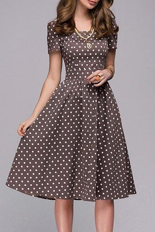 Boat Neck Polka Dot Short Sleeve Skater Dress