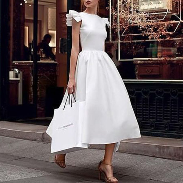 Elegant Round Neck Ruffles Short Sleeve Skater Dress