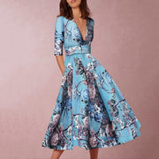 Deep V-Neck Sexy Lake Blue Half Sleeves Floral Print Skater Dress