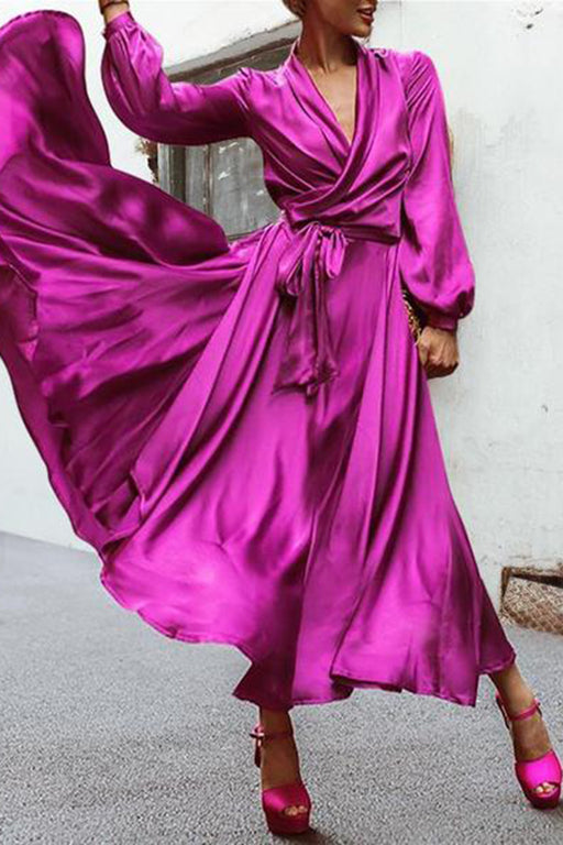 V-Neck Long Sleeve Elegant Purple Party Maxi Dress