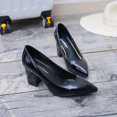 Women Plain Chunky Heel Shoes Point Toe Pumps