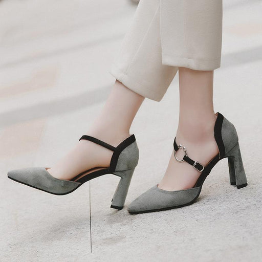 Stylish Point Toe Chunky Heel Ankle Strap Pumps