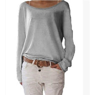 Loose Round Neck Long Sleeve Plain T-Shirts