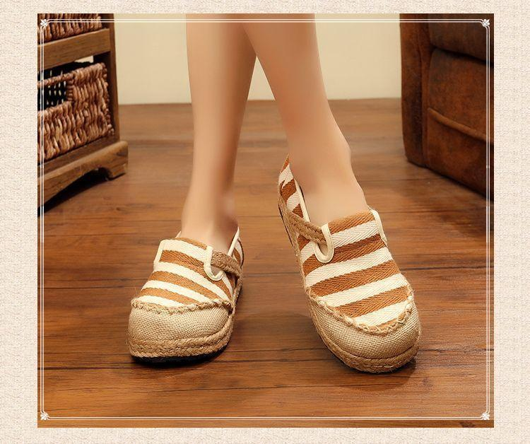 Round Head Shoes Striped Ethnic Style Student Flat Shoes