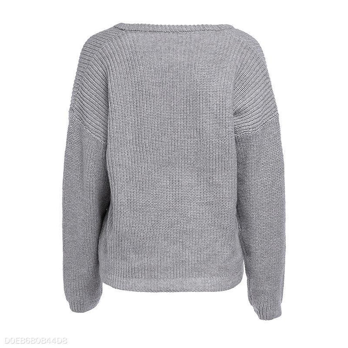 Sexy Deep-V Pure Long Sleeve Sweater Sweater