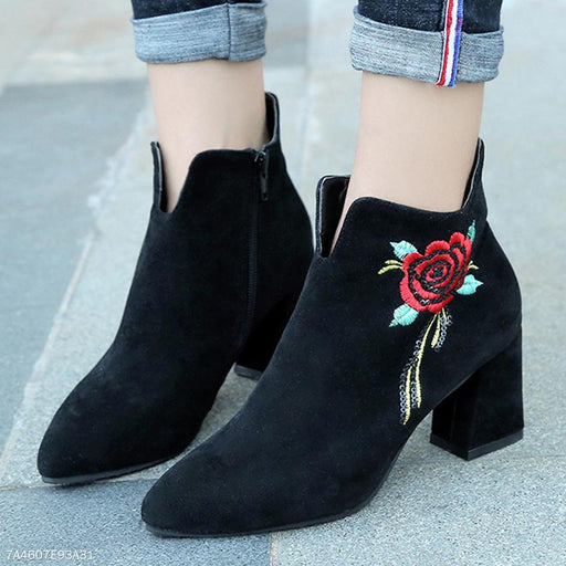 Embroidery Floral Plain  Chunky  High Heeled  Velvet  Point Toe  Date Office High Heels Boots