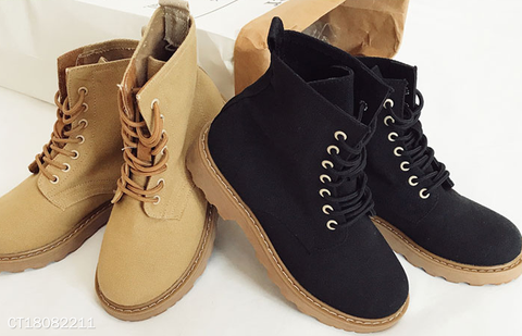 Women Lace-Up Chunky Heel Round Toe Martin Boots