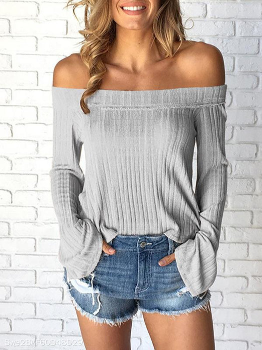 Off-Shoulder Jersey Knit Sweater