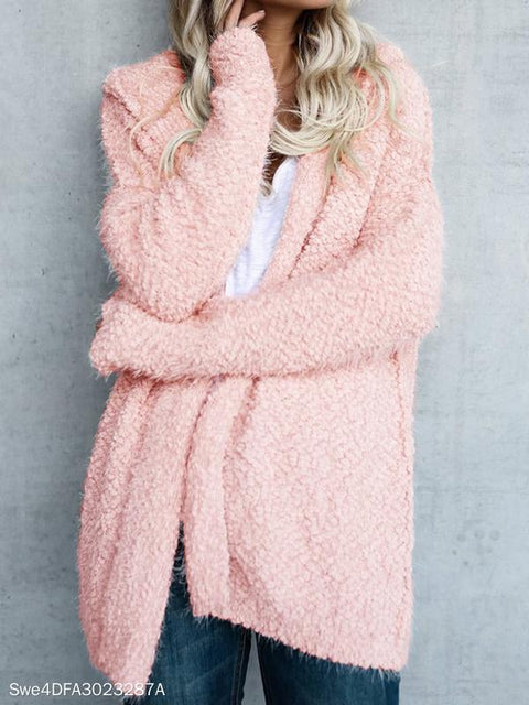 Casual Solid Hooded Long Sleeve Cardigan