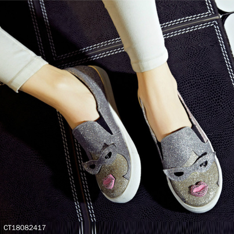 Cute Glasses Lips Cartoon Casuals Comfort Slip-On Shoes
