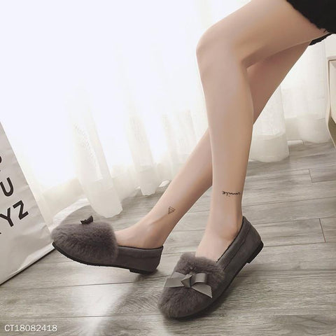 Women Round Toe Casuals Fur Flat Shoes & Slipper
