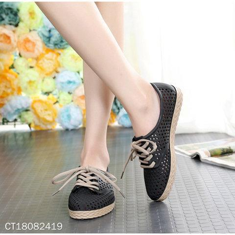 Women Hollow-Out Round Toe Casuals Lace-Up Shoes